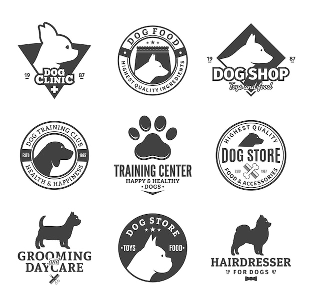 Set of various dog services labels
