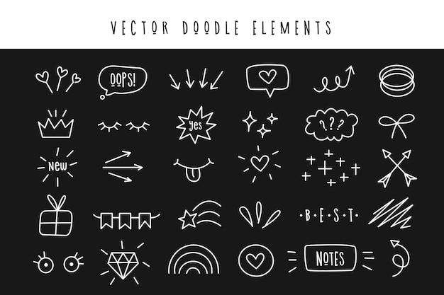 Set of various doodle elements. simple symbols for design and decoration.
