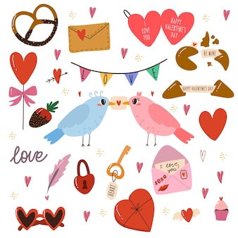 Set of various elements for valentine's day. birds, sweets, cookies, cake, love heart letter.