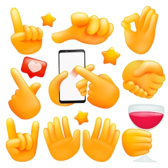 Set of various emoji yellow hand icons with wineglass, smartphone different gestures. 3d cartoon style