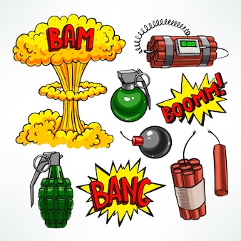 Set of various explosive devices