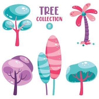 Set of various flat trees