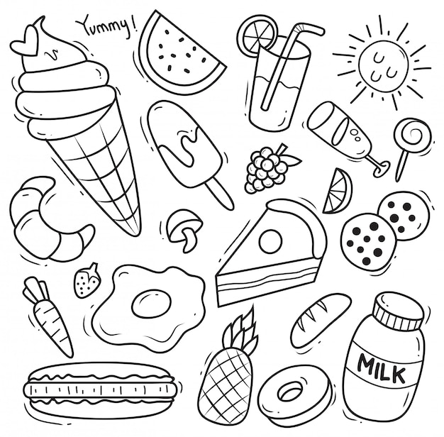 Set of various food in doodle style