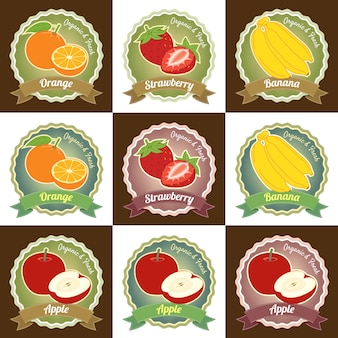 Set of various fresh fruits premium quality tag label badge design