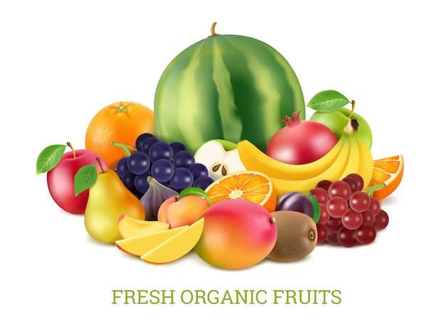 Set  various fresh fruits