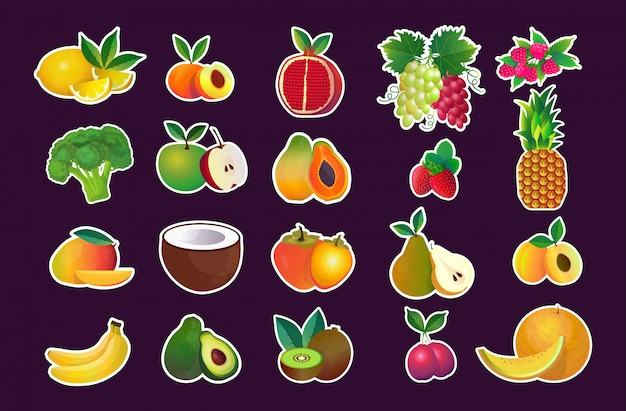 Set various fresh juicy fruits collection healthy natural food concept horizontal