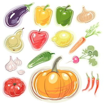 Set of various fruits and vegetables.