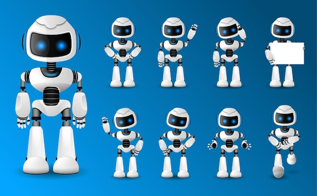 Set of various futuristic robots activity
