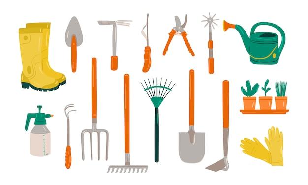 Set of various gardening items