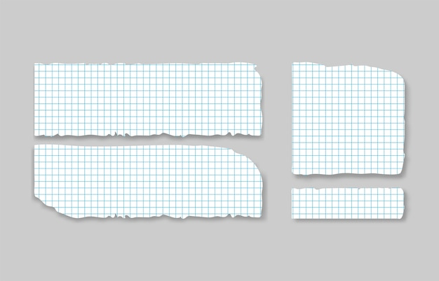Set of various gray squared torn note papers with adhesive tape.