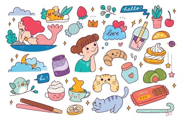 Set of various hand drawn doodle