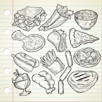 Set of various hand drawn food
