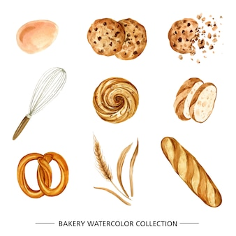 Set of various isolated, watercolor bakery