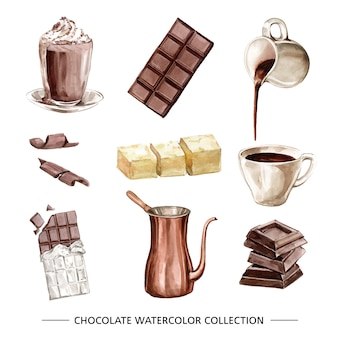 Set of various isolated watercolor chocolate