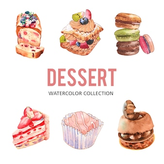 Set of various isolated watercolor dessert illustration