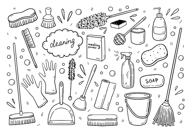 Set of various items for cleaning in doodle style