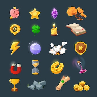 Set of various items for game user interface design. cartoon magic items and resources for a fantasy game. gold coins, book, candle, gem, chest, clover.