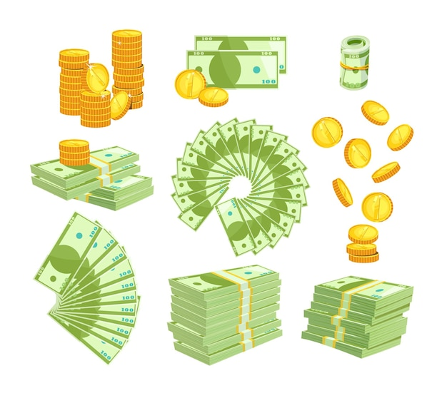 Set various kind of money isolated on white
