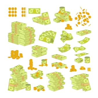 다양 한 종류의 돈을 흰색 배경에 고립 된 설정