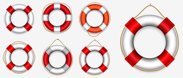 Set of various lifebuoy isolated or lifeguard rescue equipment
