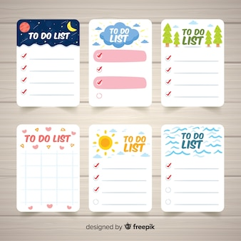 Set of various to do lists