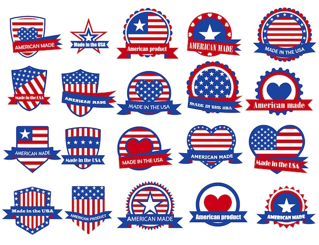 Set of various made in the usa labels in red and blue colors