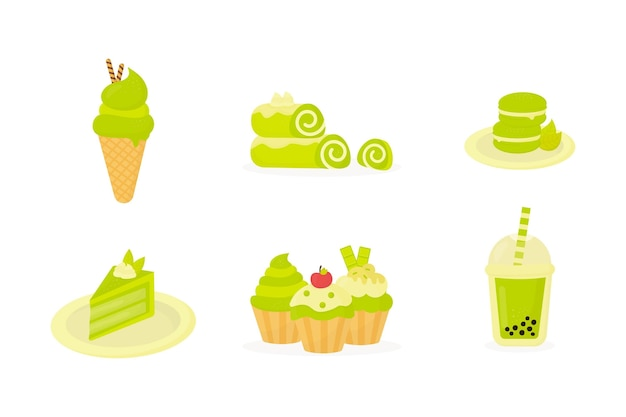 Set of various matcha desserts
