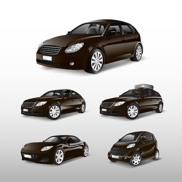 Set of various models of brown car vectors