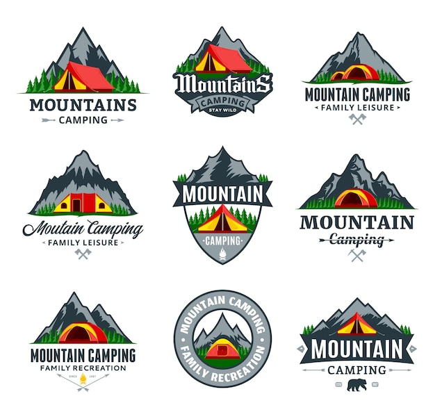 Set of various mountain camping badges