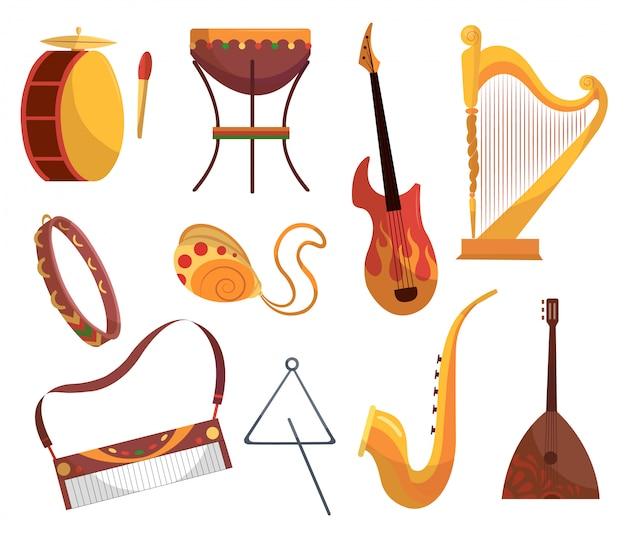 Установлены различные музыкальные инструменты, бубен, барабаны, акустика. электронные гитары скрипка аккордеонная труба и барабаны - музыкальные инструменты мультяшный плоский вектор