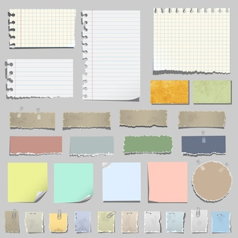 Set of various notes paper