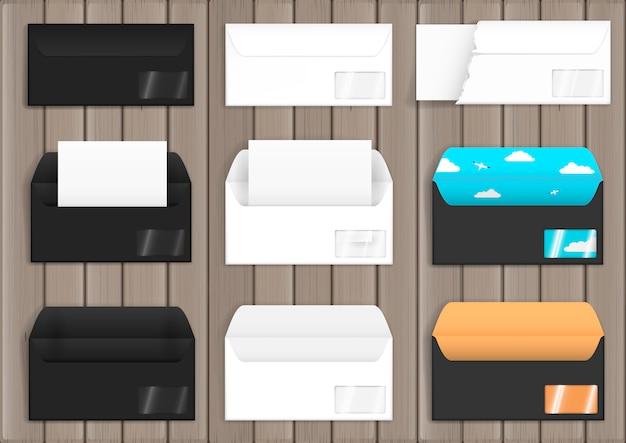 Set of various paper envelopes