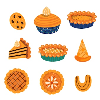 Set of various pastry food and autumnal leaves illustration set