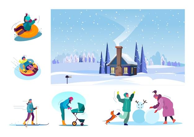 Set of various people having fun at winter