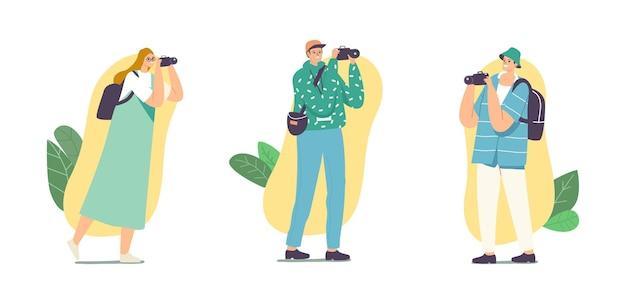 フォトカメラで様々な写真家を設定します。創造的な職業または職業。女性または男性のキャラクターの写真撮影。クリエイティブな趣味、旅行。漫画の人々のベクトル図
