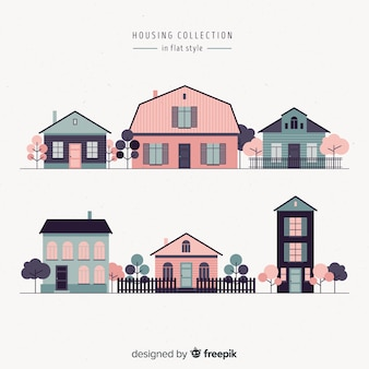 Set of various pink houses