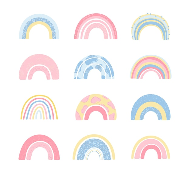 Set various rainbows in hand drawn style isolated on white background for kids.