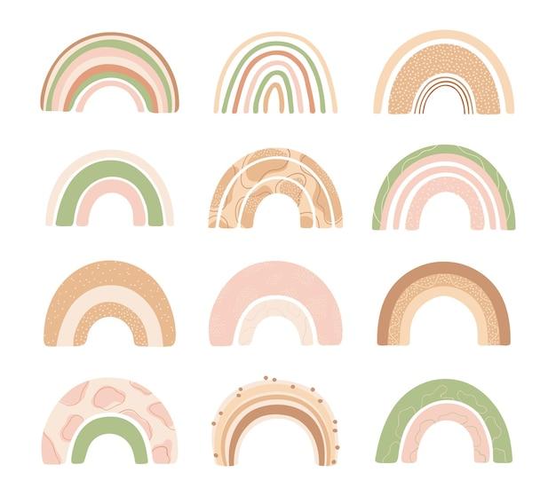 아이들을위한 흰색 배경에 고립 된 손으로 그린 스타일에 다양 한 무지개를 설정합니다.