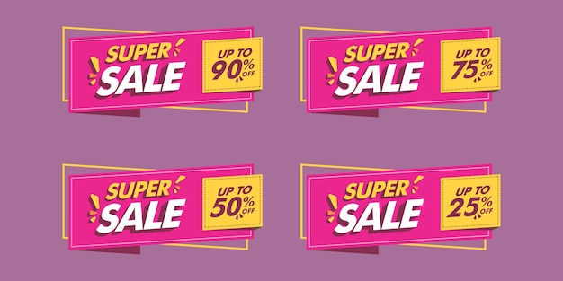 Set of various sale banner