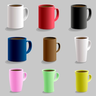 Set of various shaped mug cup for hot drink caffe.