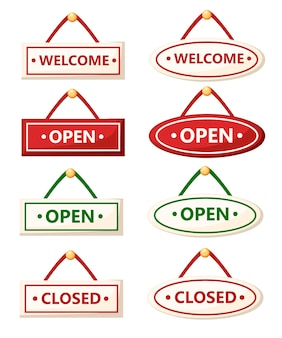 Set of various signs. open and closed signs.   .  illustration  on white background. web site page and mobile app .
