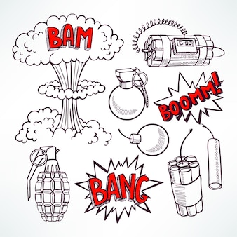 Set of various sketch explosive devices