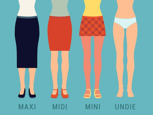 Set of various skirts against the blue background. illustration suitable for advertising and promotion