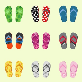 Set of various slippers