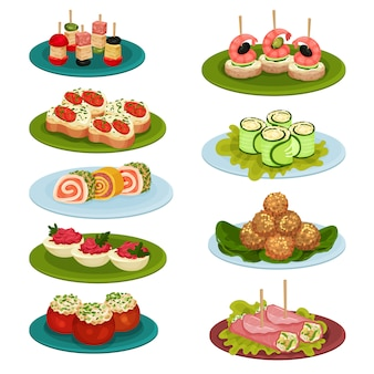 Set of various snacks for banquet. appetizing food. culinary theme.   for recipe book or restaurant menu