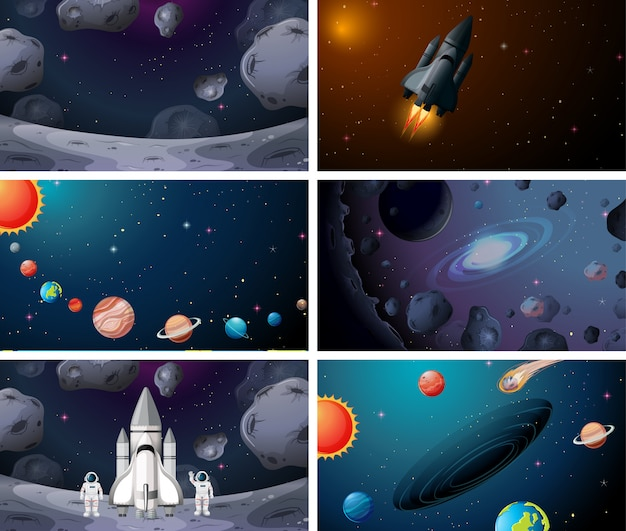 Set of various soloar system space scenes background