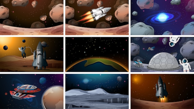Set of various space scenes background