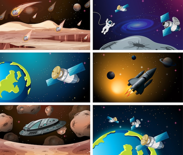 Set of various space scenes or background