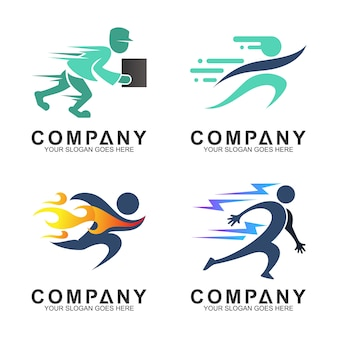Set of various sports and delivery service logo