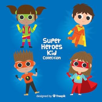 Set of various superhero kids